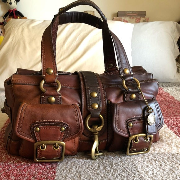 coach bags legacy leather satchel in whiskey poshmark rh poshmark com